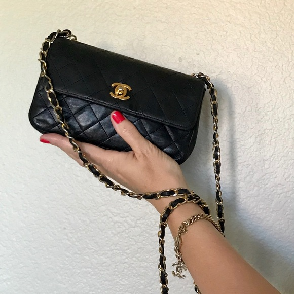 7004fa70eab42a CHANEL Bags | Vintage Black Leather Cc Mini Flap Bag | Poshmark